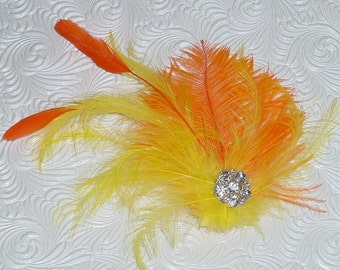 Closeout - Lemon Yellow and Orange Feather Fascinator with Antiqued Rhinestone Sparkle