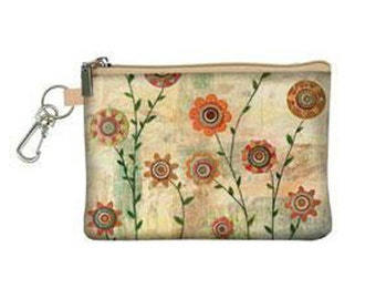 Cream Flower Zip Purse, Sascalia Cream Flower Zip Top Purse