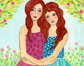 Redhead Sisters Art Print  - Best Friends - Two Red Hair Sisters Red Hair Best friends - Best Friend Sister Gift