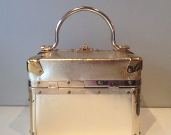 Vintage 1960's Gold Lame Box Purse by Delill