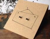 Tiny Black Sterling Post Earrings