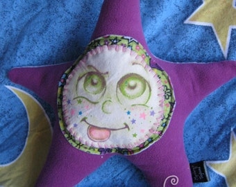 Wishing Star Plush: Fizzby - Unique Plush Pillow Type Toy with Hand Painted Canvas Face