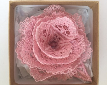 FSL Soft Pink Lace Rose Brooch