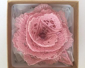 FSL Soft Pink Lace Rose Brooch