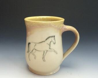 Trotting Horse Mug- Sunshine Yellow - Horse Mug - Equestrian - Horses - Dressage Mug - Equine Art - Yellow Mug - Ceramic Mug
