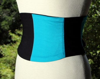 Turquoise and Black Half and Half Corset Boned Waist Cincher Belt Lace Up Any Size Any Colors