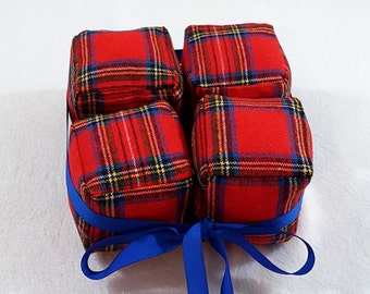 MOVING SALE Cube Pillow Set of 4 Stuffed Toy Plush Cubed 3D Puzzle Royal Stewart Wool Plaid Tartan Red and Blue