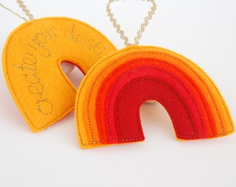 Rainbow Reminder - An Orange Rainbow Felt Decoration Stitched in Gold with the Positive Affirmation, Create Your Destiny. Sacral Chakra