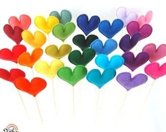 Felt Heart Sticks - Custom Set of 10 Plush Handmade Felt Love Hearts. Heart Toppers. Felt Heart Sticks. Party decorations. Wedding Decor