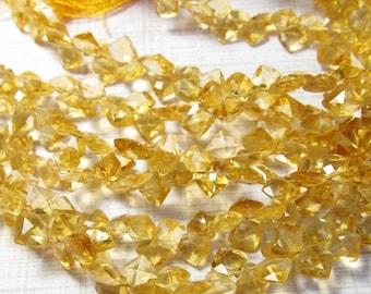 25% Off Sale Fine Natural Citrine Briolette Beads, 9 Inches, Cushion Square Citrine