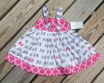 Elephant Dress - Toddler Girl Dress - Girls Elephant Dress - Elephants - 1st Birthday Dress  - Groovy Gurlz