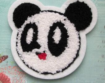 2 Pieces Panda Face towel Applique Sew on Patches Appliques