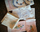 Lot Vintage Hand Towels, 3 PR plus 1, fancy embroidery, pastels, cutwork, linens