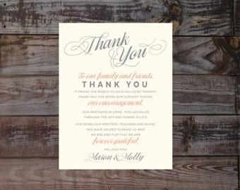 Wedding reception thank you, Wedding thank you, guest thank you, wedding invitations, thank you, thank you cards, thank you notes