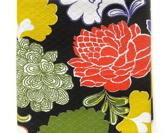Vintage Fabric - Bright Floral Print Cotton - Pique Texture Fabric for Pillows / Measures 1-7/8 Yards
