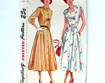 1940s Vintage Sewing Pattern Button-Front Day Dress Square Neckline Flared Skirt - Simplicity 2443 / Size 12 UNCUT FF