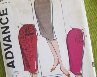1960 Vintage Sewing Pattern - 1 Yard Skirts - Wiggle Skirt Pattern Slim Skirt Pattern / Advance 9903 // Uncut FF / 24 Waist