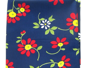 Vintage Cotton Yardage - Mid Century Floral - Mod  Flowers - Bright Colors on Navy - Marcus Brothers Cotton