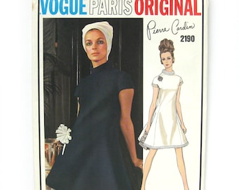 1960s Vintage Vogue Paris Original Sewing Pattern 2190 Pierre Cardin A-Line Dress / Uncut FF / Size 12