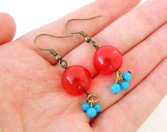 Blue and Red Glass Bauble Earrings -- Bright Beaded Drops -- Brass Hook Earrings -- UK Shop
