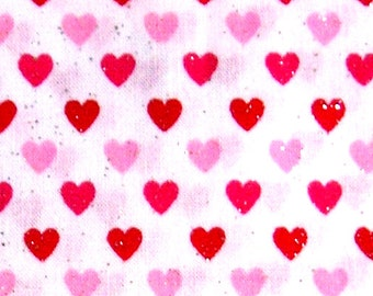 Glitter Hearts Retro Cotton Fabric REMNANT