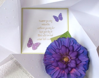 BIRTHDAYCard, folded pinwheel style, in white and green, with purple flower and butterfly accents