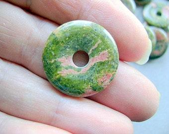 UNAKITE, DONUT, 25mm,  PENDANT, green, Pink, Pi, Focal, Bead, I