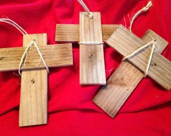 Three Vintage Weathered Wood Cross Christmas Ornaments