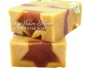 SALE SOAP - Lucky Star Soap, Lemon Soap, Ylang Ylang Soap, Vegan Soap, Cold Process Soap, Natural Soap, Soap Gift