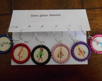 Fashion Girls-set of Six (6)-Decorative Wine Charms