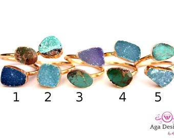 Turqouise and Druzy ring 24K Gold Plated- adjusted size - pick your design