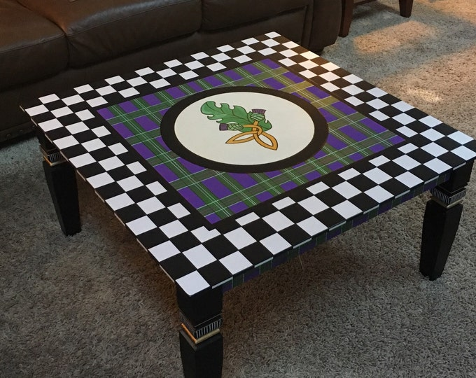 Custom painted coffee table, whimsical painted coffee table, Scottish plaid table, scottish thistle table