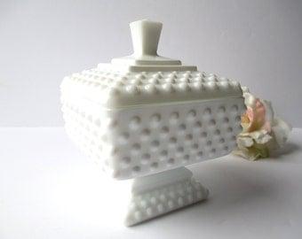 Vintage Fenton Milk Glass Hobnail Wedding Jar