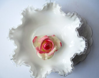 Fenton Milk Glass Silver Crest Serving Bowl - Vintage Chic
