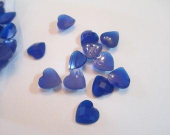 100 Blue Heart Flat Back Buttons Scrapbooking Craft Supplies