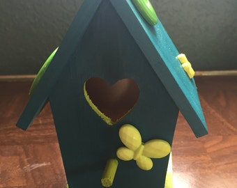 Teal and Lime Hand Painted Birdhouse