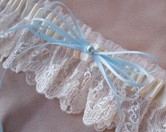 Something Blue Ivory Lace Bridal Garter Blue Pearl Accent Wedding Garter