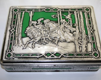 A Vintage Embossed Green and Silver Riley's Toffee Tin Box with Higned Lid