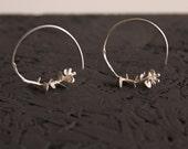 Silver leaf earrings-Nature earrings-Sterling silver hoops-Botanical jewelry-Delicate earrings-Silver leaf jewelry-Gift for her
