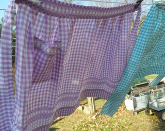 Vintage Embroidered Purple/White Gingham Apron