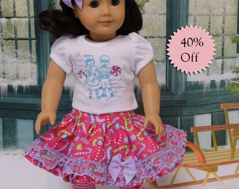 Candy Cane Kids - ruffle skirt and tshirt for American Girl **Sale**