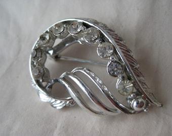 Silver Rhinestone Brooch Vintage Pin Clear