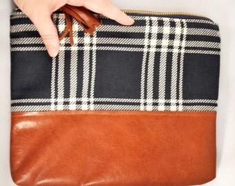 LEATHER CLUTCH /// Plaid Cluctch, Navy Bag, Plaid Purse, Plaid Bag, Navy Plaid, Leather Clutch, LeatherHandbag