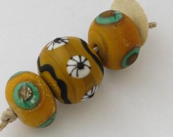 Ancient Viking Glas Beads 3 Yellow Handmade Lampwork Glass Beads Weathered and Worn