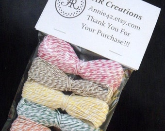 50% Vac. Sale Bakers Twine 360 feet, 329.184 meter - Baker's Twine in Paris Pink, Banana Yellow, Kraft Brown, Green, Turquoise Blue, Baby Co