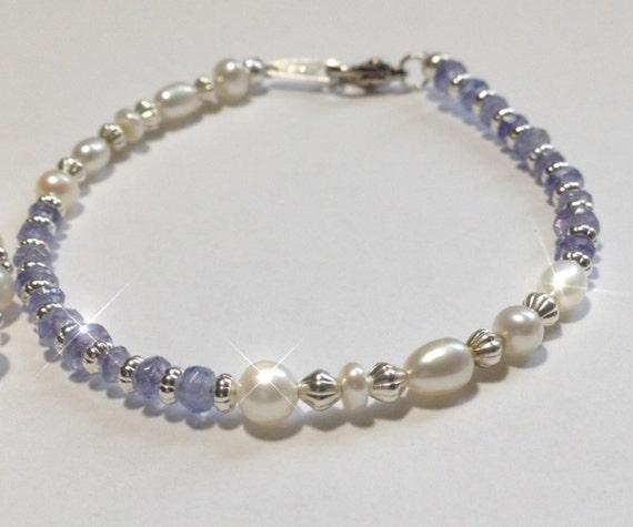 Pearl Tanzanite: HONORA Pearl And TANZANITE Bracelet. Free Shipping In USA