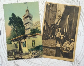 Vintage Postcards Alger Arab French North Africa Set of Two Mixed Media Scrapbooking Paper Craft Supplies