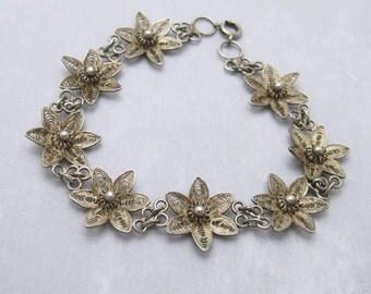Sterling Filigree Bracelet Vintage Flower Bracelet B7028
