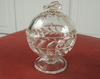 Charming Covered Candy Dish With Bee Handle