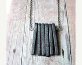 Modern Industrial Unisex Gray Spikes Necklace, Concrete Slate Grey Ceramic Pendant Gift Box